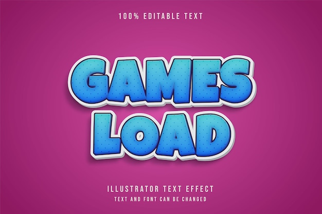 Games load,3d editable text effect blue gradation comic shadow text style