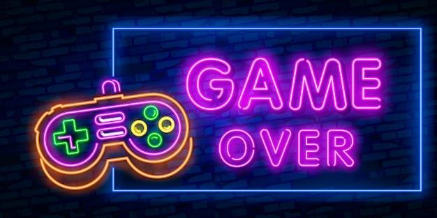 Games, over neon text with controller