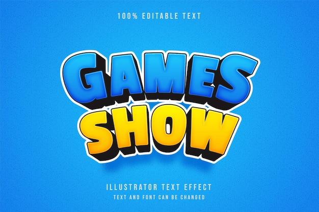 게임 쇼, 3d 편집 가능한 텍스트 효과 블루 그라데이션 노란색 만화 효과