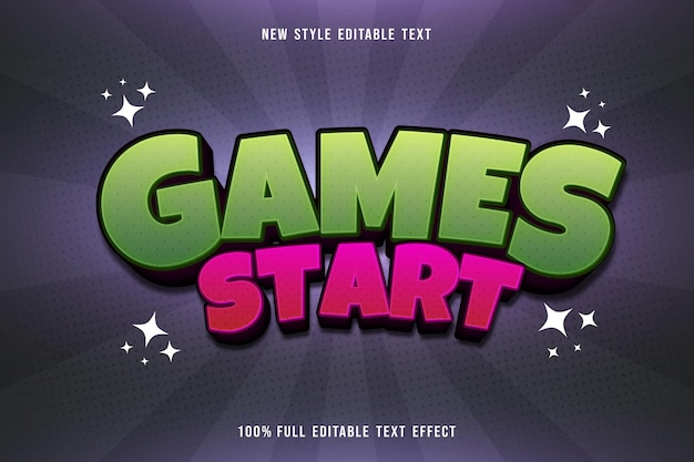Games start editable text effect cartoon comic style