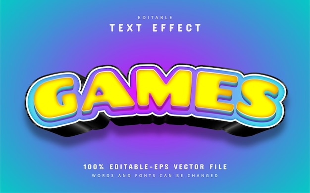 Games text effect cartoon style