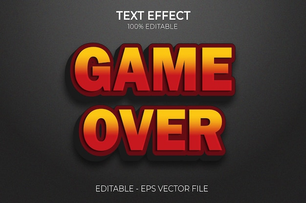 Games over text effect design new creative 3d  editable bold text style premium vector
