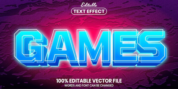 Текст игры, редактируемый текстовый эффект стиля шрифта
