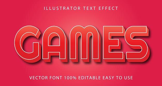 Games vector editable text effect