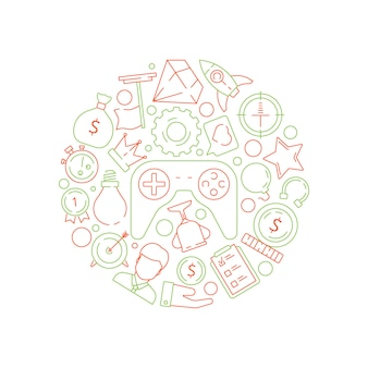 Фон геймификации. правила достижения бизнес-концепции gamification для символов вектора конкурсной работы работы в форме круга