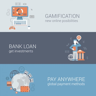 Gamification bank loan investment pay anywhere online internet business technology concepts flat designe   illustrations set.