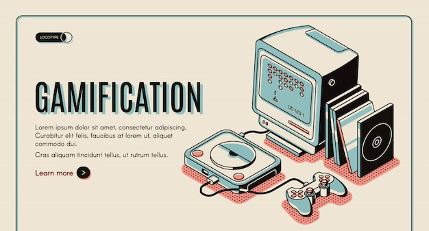 Gamification banner, gamer console for playing, retro video playstation with joystick and disks
