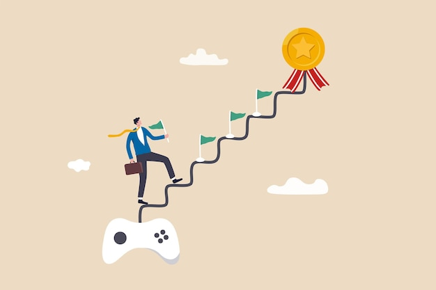Gamification, business or marketing strategy using game challenge, achievement to engage with customer, winning motivation, joyful businessman walk up stair from gaming joystick to achieve target.
