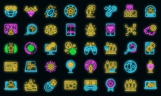 게임화 아이콘을 설정합니다. 블랙에 gamification 벡터 아이콘 네온 색상의 개요 세트