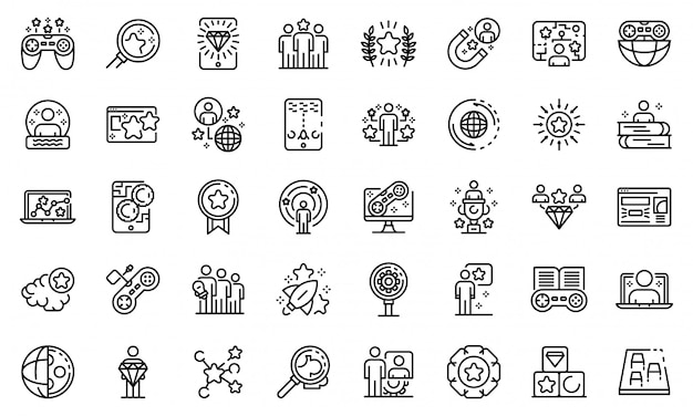 Gamification icons set, outline style