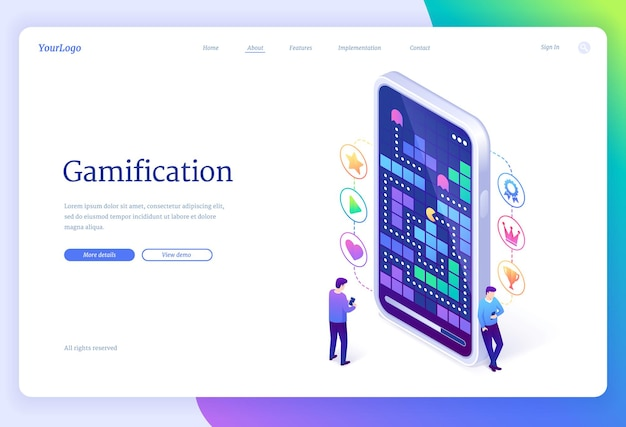 Gamification. interactive game application online landing page