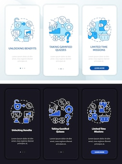 Gamified loyalty programs day, night onboarding mobile app page screen. walkthrough 3 steps graphic instructions with concepts. ui, ux, gui vector template with linear night and day mode illustrations