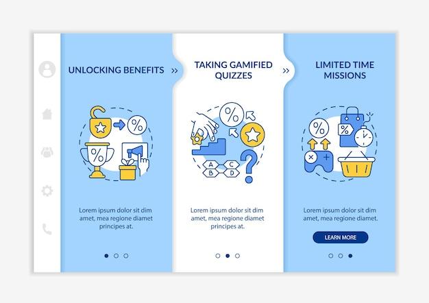 Примеры геймифицированных программ лояльности. адаптивный мобильный сайт с иконками. веб-страница прохождение 3-х шаговых экранов. цветовая концепция геймификации с линейными иллюстрациями