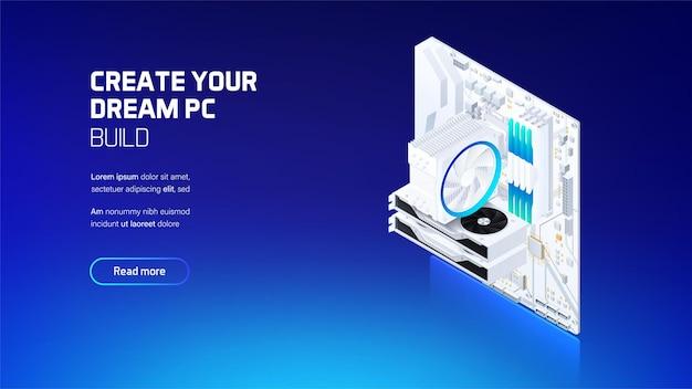 Компьютерные компоненты игровой и рабочей станции установлены изометрической иллюстрации