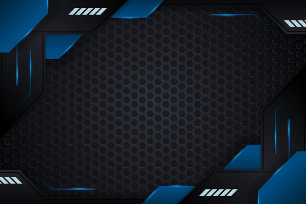 Gaming background with blue gradient and lighting lines vector design