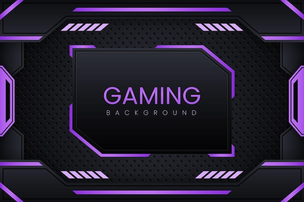 Gaming background with dark purple gradient vector design and geometry ornament