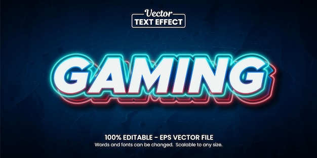 Gaming blue and red light background, editable text effect