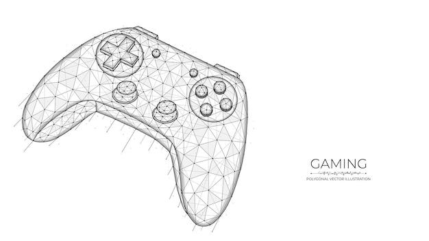 Концепция игры полигональные векторные иллюстрации игрового контроллера на белом фоне
