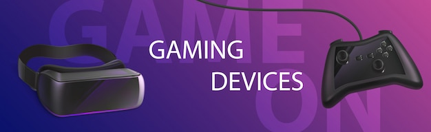 Gaming devices panoramic banner or header. vr