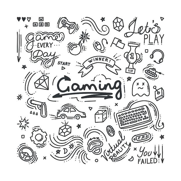 Набор игровых каракули. виртуальная реальность, компьютеры, игровые жанры и сопутствующие объекты. векторная иллюстрация