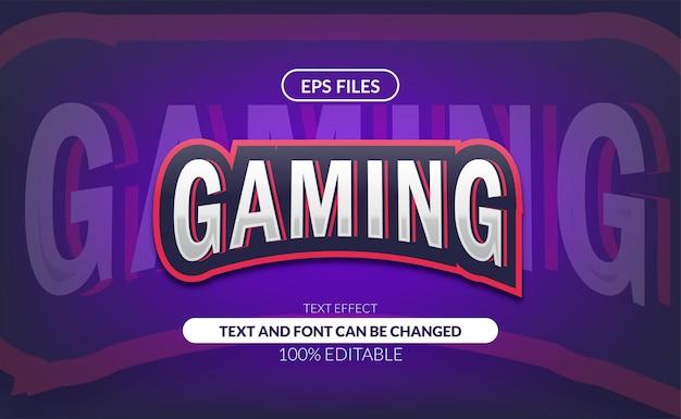 게임 e- 스포츠 또는 스포츠 클럽 로고 편집 가능한 텍스트 효과.