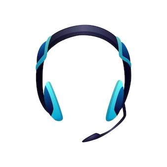 Игровое оборудование. наушники с микрофоном для игровых развлечений. аксессуары для киберспорта. элемент для геймерского турнира или чемпионата.