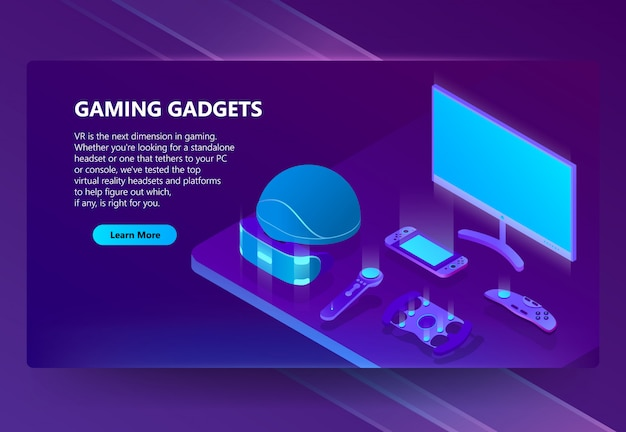 Gaming gadgets isometric concept background