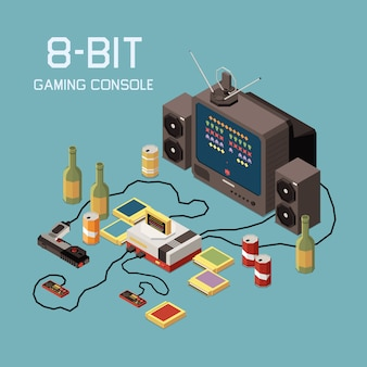 Gaming gamers isometric composition with images of tv set vintage console device and bottles of beverage