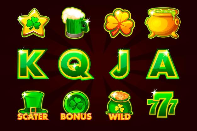 スロットマシンと宝くじまたはカジノのst.patrickシンボルのゲームアイコン。