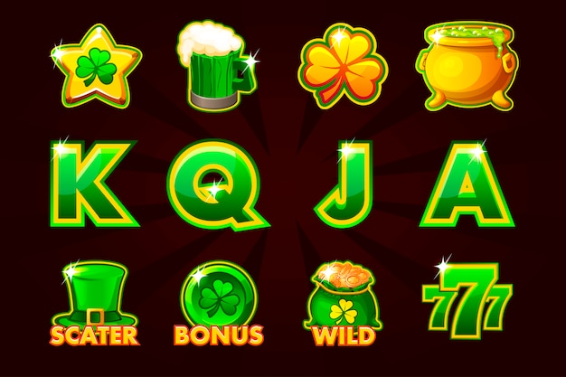 Gaming icon of st.patrick symbols for slot machines and a lottery or casino.