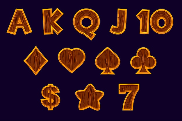 Gaming icons for slot machines or casino in wooden texture