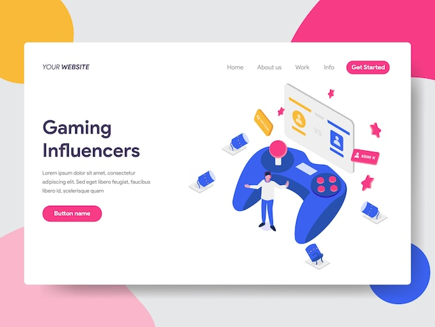 Gaming influencers illustration for web pages