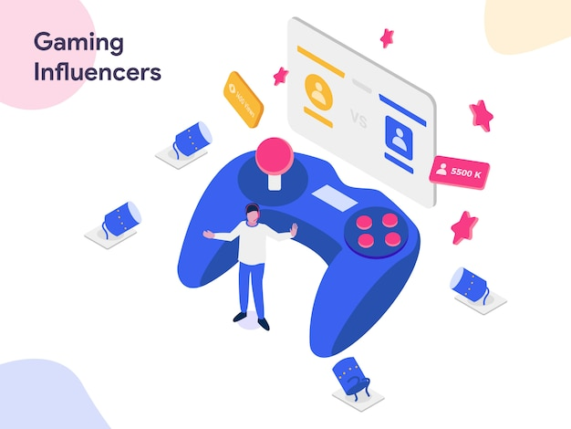Gaming influencers  isometric illustration