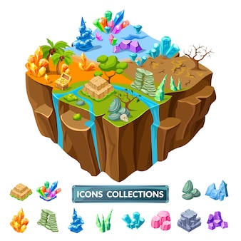 Gaming island and stones isometric icons