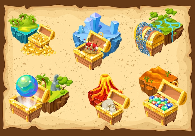Gaming islands and hidden treasures set