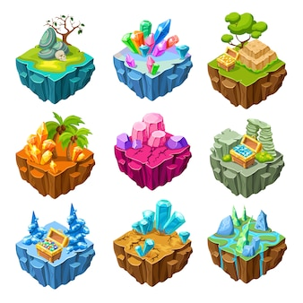 Gaming islands with stones isometric set