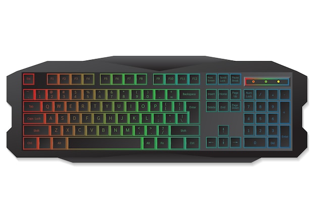 Gaming keyboard top view isolated on white. vector illustration