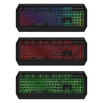 Ledバックライト付きゲーミングキーボード。リアルなコンピューターのキーボードセット。