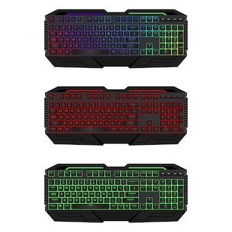 Gaming keyboard with led backlit. realistic computer keyboards set.