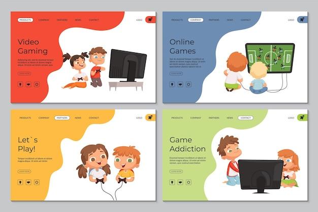 게임 랜딩 페이지. 비디오 게임, 중독 및 노는 아이들.