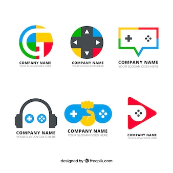 Gaming logo collection with flat design