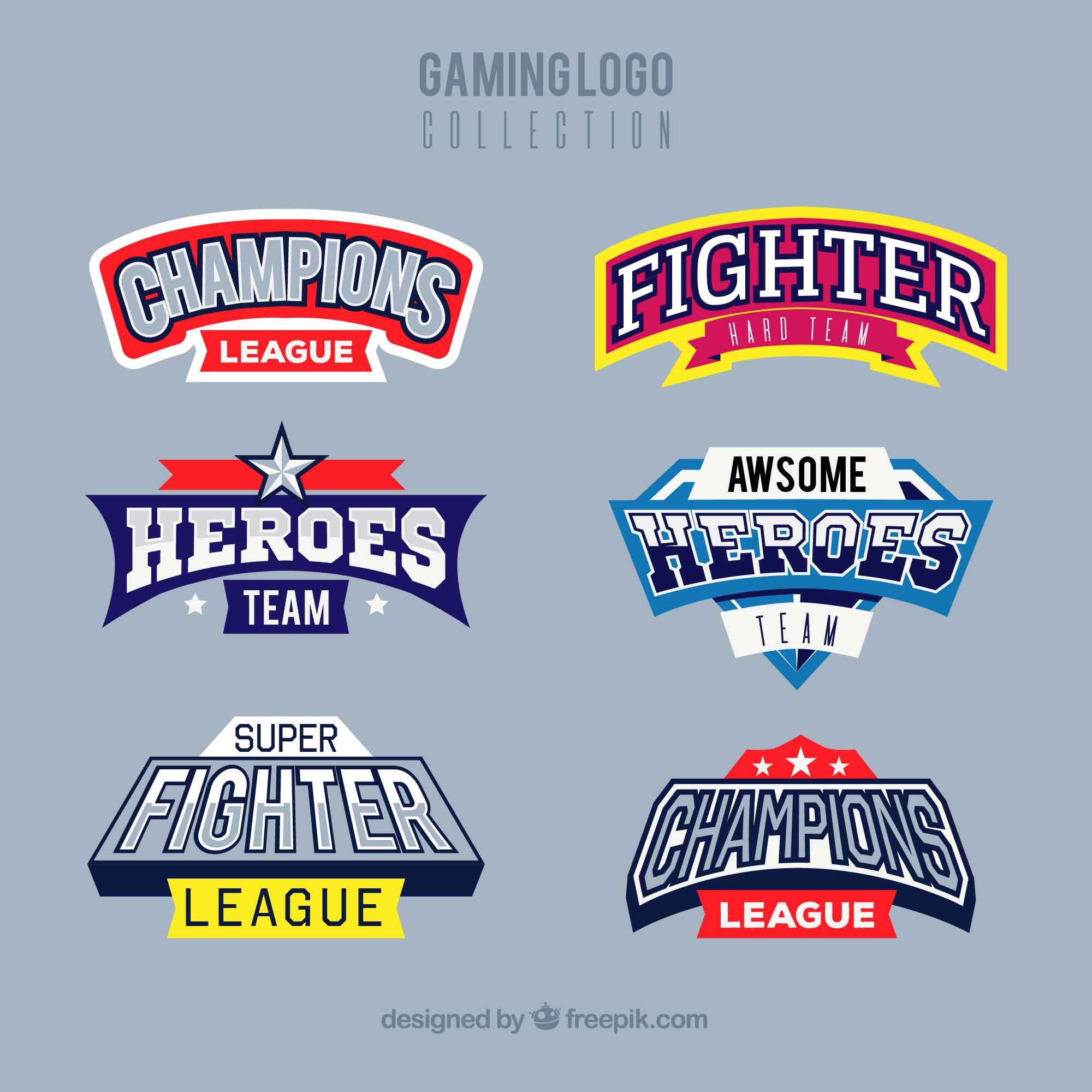 Gaming logo collection with sport style
