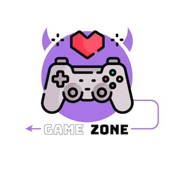 Gaming logo template with joystick