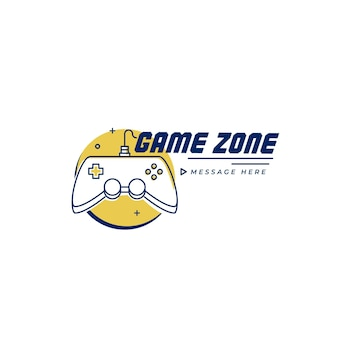 Gaming logo template with message placeholder
