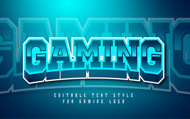 Gaming logo text style effect Premium Vector