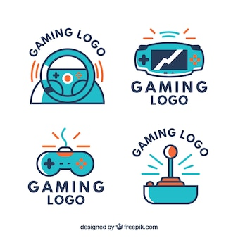 Gaming logos collection in flat style