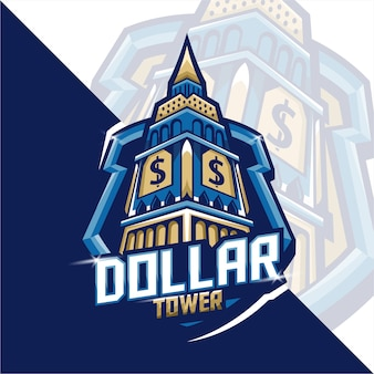 Gaming mascot logo dollar tower