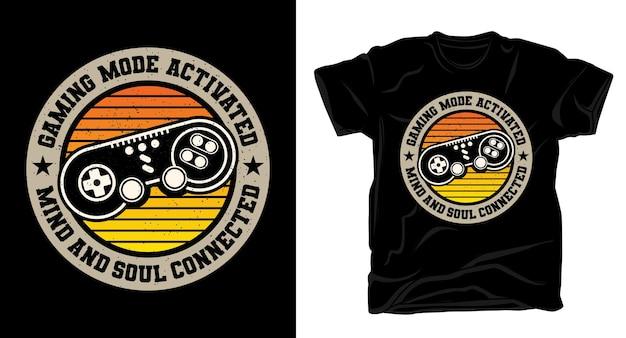 Типографика с активированным игровым режимом и дизайном футболки с контроллером