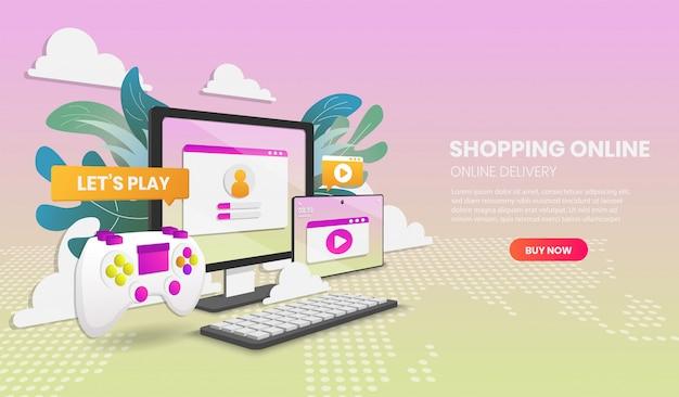 온라인 개념 쇼핑 비디오 게임 하드웨어 게임. 벡터 개념 그림입니다. 웹 사이트의 영웅 이미지.