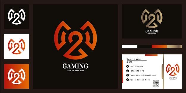 Шаблон логотипа игры или письма mou с дизайном визитной карточки